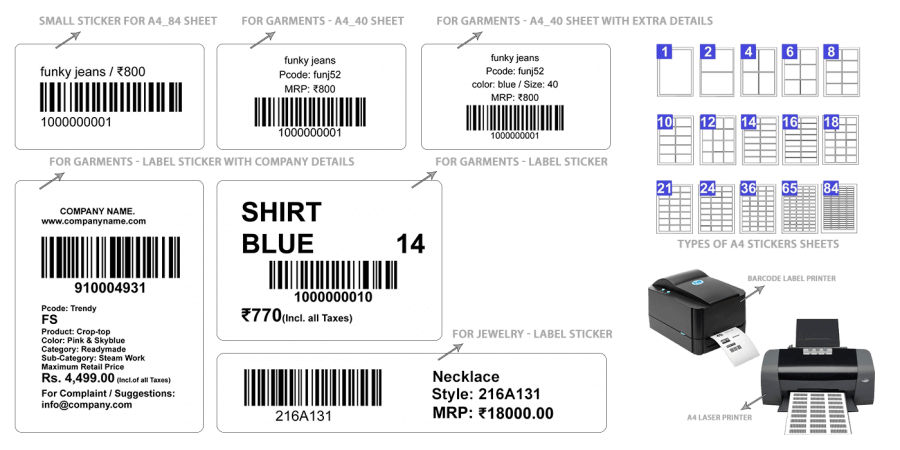 Barcode label types in Retailcore software
