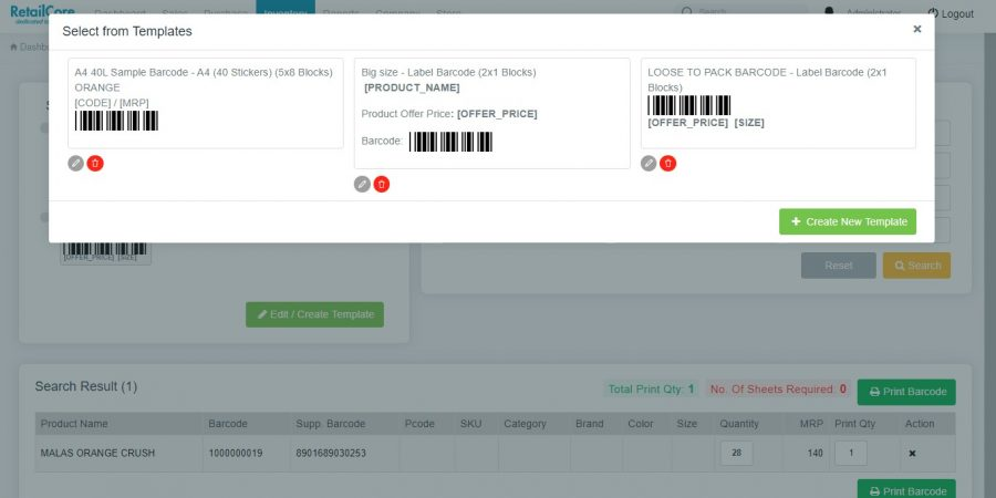 Barcode management in retailcore software
