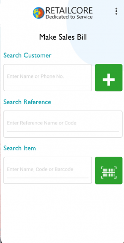 Sales Bill Screen of RetailCore Billing App