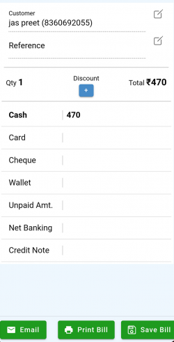 Multiple Payment Methods Screen on Retailcore Billing App